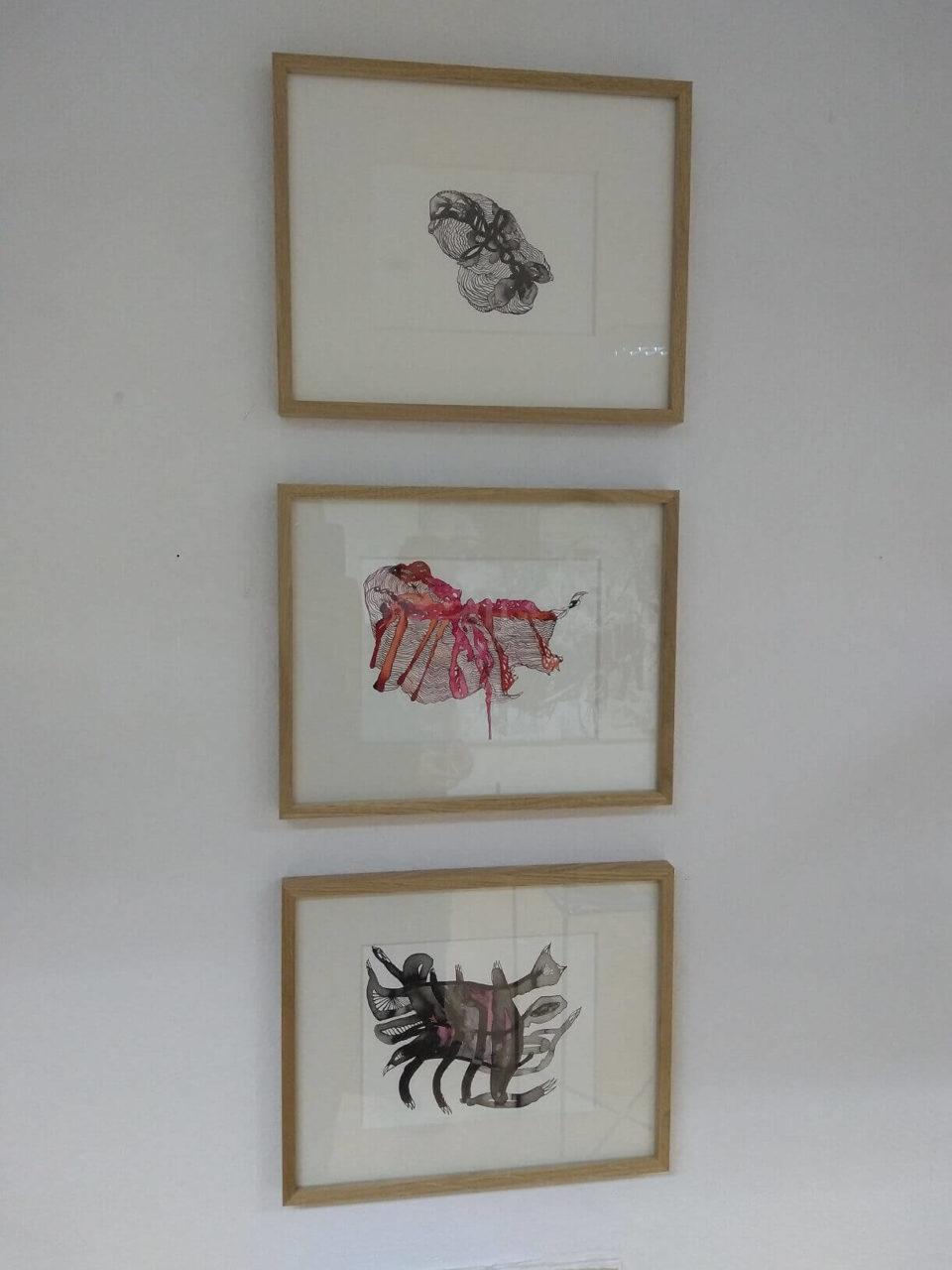 Sylvia Bratziks Arbeiten im Atelier kunst+tonic für die Ausstellung Kunstpunkte